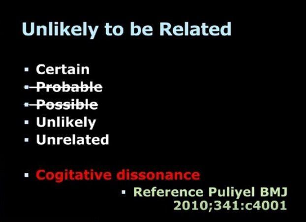 """Théorie de la dissonance cognitive: quand un acte survient et qu'il est contraire aux croyances (des évaluateurs), ceux-ci tentent de réduire la contradiction en faveur de leurs croyances, d'où qu'ils suppriment des catégories (ex: probable et possible) pour que, dans le doute, cela soit d'office classé comme """"non lié"""""""