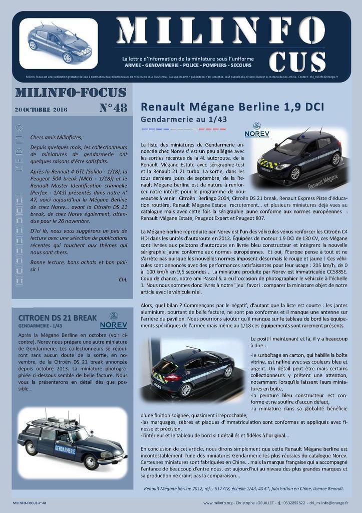 Milinfo-Focus n° 48 : Renault Mégane berline gendarmerie Norev et sélection librairie