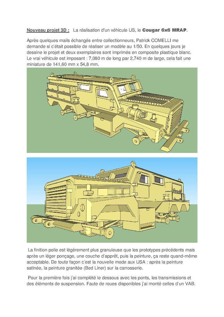 Technique & conseils : le Cougar 6x6 MRAP  au 1/48 en impression 3D (par Jean-Charles, Patrick Comelli et Bob)