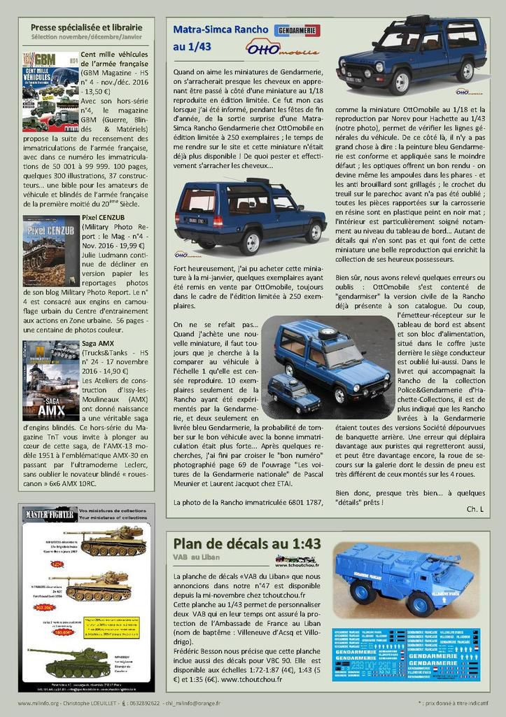 Milinfo-Focus n° 50 : le Citroën U55 au 1/43 et la Matra-Simca Rancho au 1:18