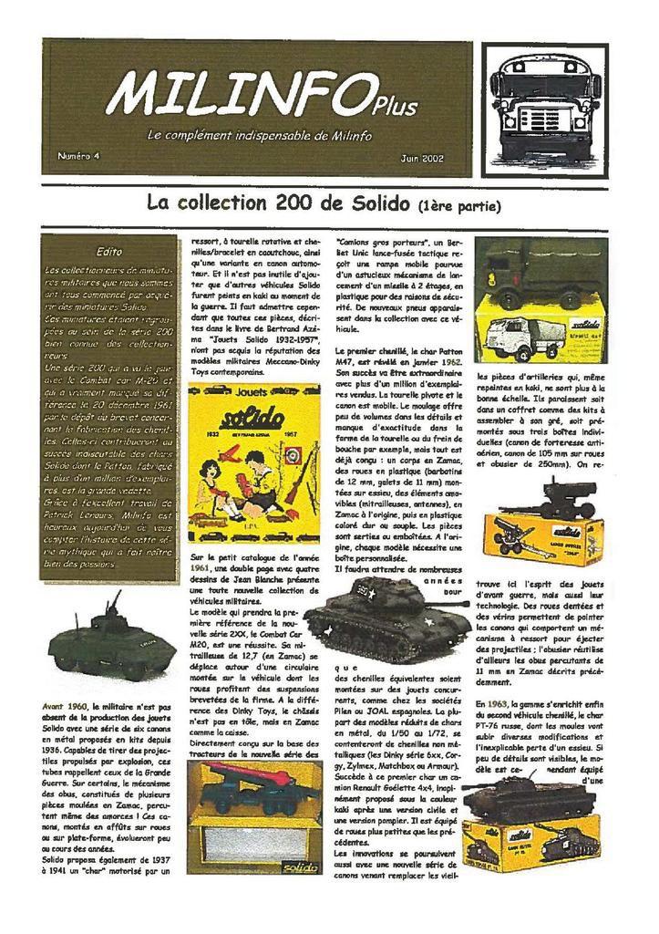 """20 ans de Milinfo : Milinfo Plus n° 4 et 5 """"Série 200 de chez Solido"""""""