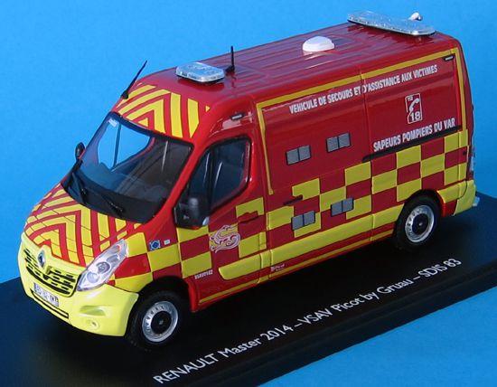 RENAULT MASTER 2014 - VSAV PICOT GRUAU Pompiers SDIS 83 au 1/43 (Eligor)
