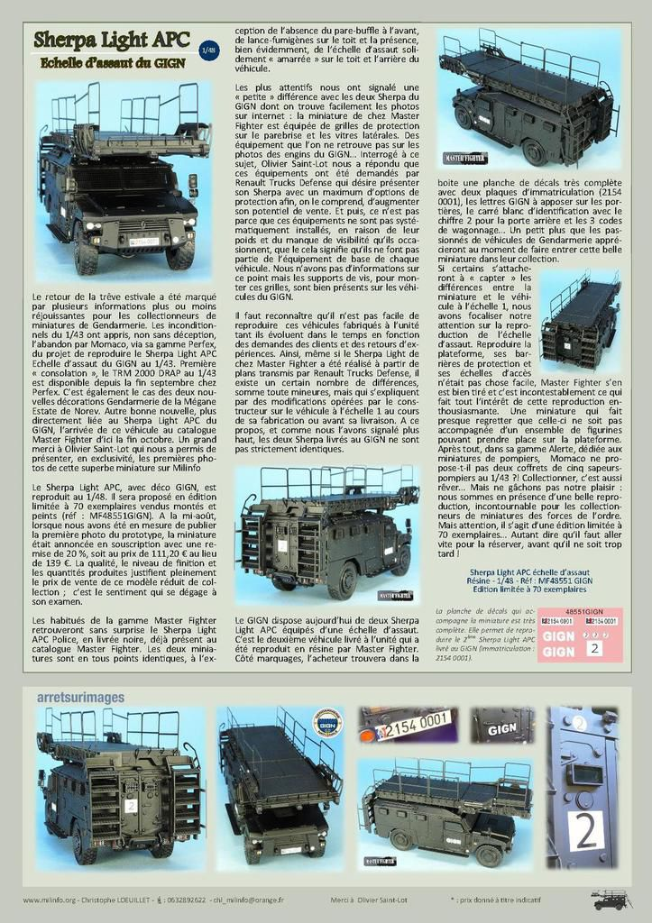 REDIF - Milinfo-Focus n° 60 : le Sherpa Light APC échelle d'assaut du GIGN (Master Fighter)