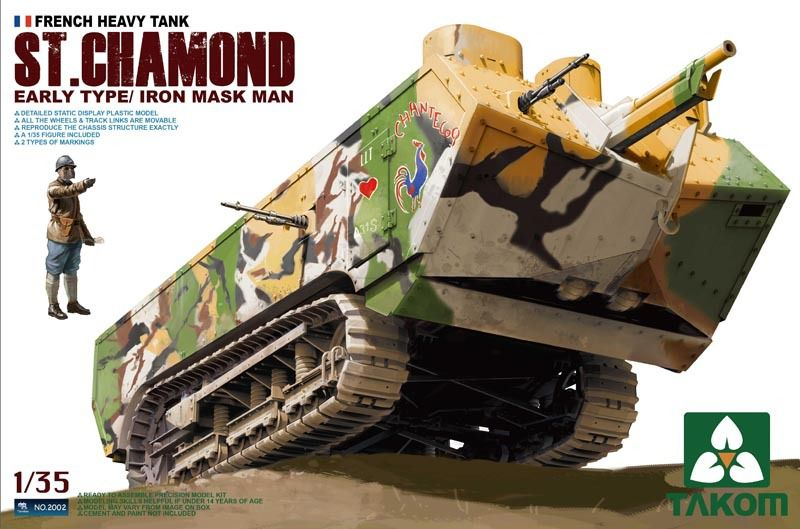 Référence : 2002 - 1/35 WWI French Heavy Tank St.Chamond Early Type with Iron Mask Man