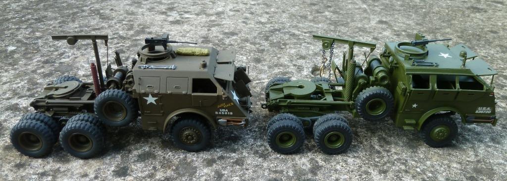 Camions tracteur M 26 au 1/48 de chez Master Fighter (olive drab) et ASAM (vert armée)