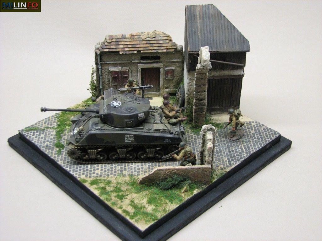 Diorama : Sherman  dans le bocage... (par Robert B.)