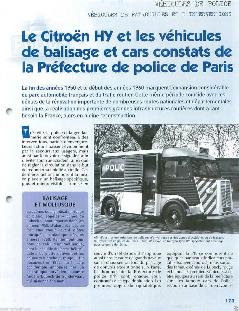 Fiche fascicule collection Police&Gendramerie (Hachette-Collections)