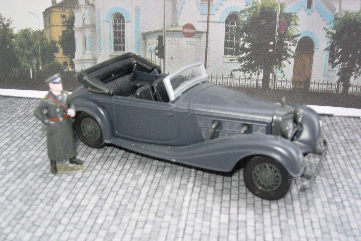 Heydrich, Gouverneur du Reich en Bohême -Moravie, mort dans un attentat à Prague en juin 1942...  (Mercedes 540K Solido et figurine Gaso.Line)
