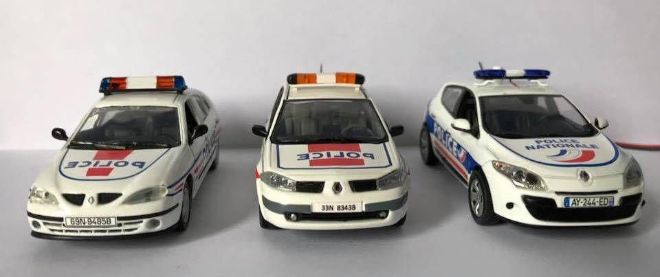 Trois générations de Renault Mégane de la Police Nationale.