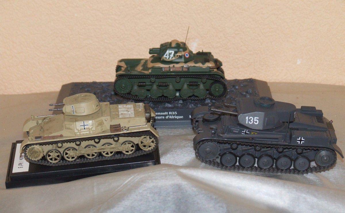 Renault R35, Panzer I et II... pour la photo (miniatures Ixo/PCT pour Altaya)