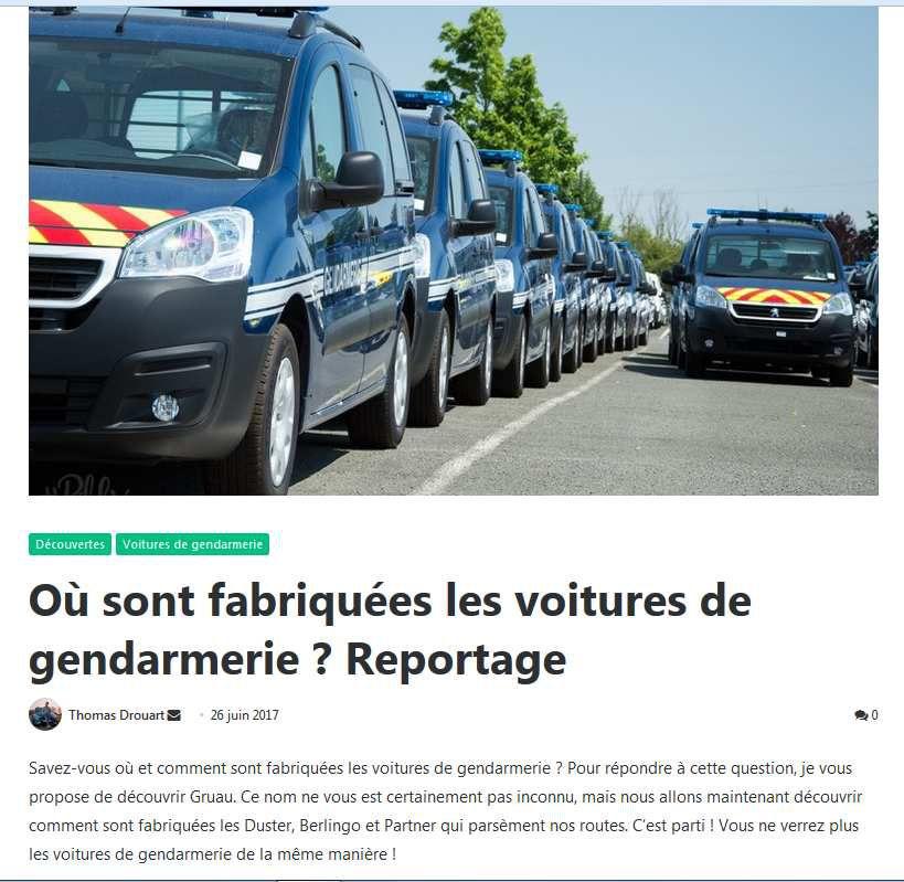 Archives Milinfo (27/07/17) : Où sont fabriquées les voitures de Gendarmerie : visite chez Gruau