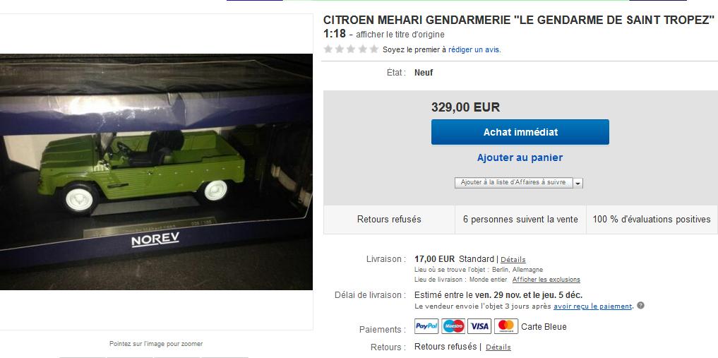 Citroën Méhari Gendarmerie au 1:18 (Norev exclu web)