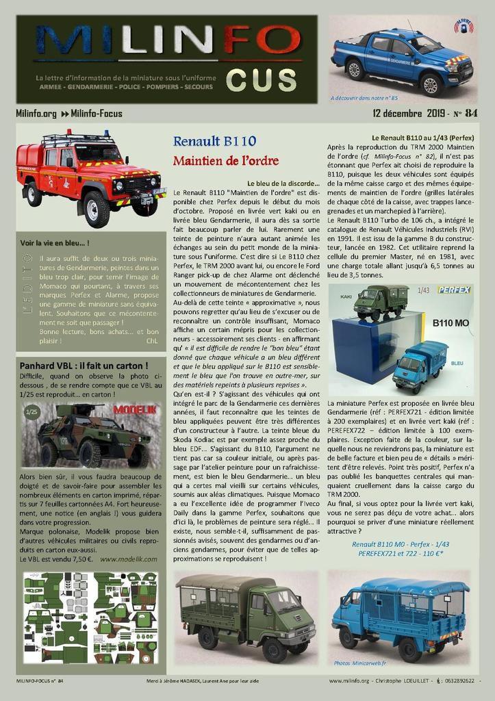 Milinfo-Focus n° 84 : Renault B110 Gendarmerie et Defender BSPP