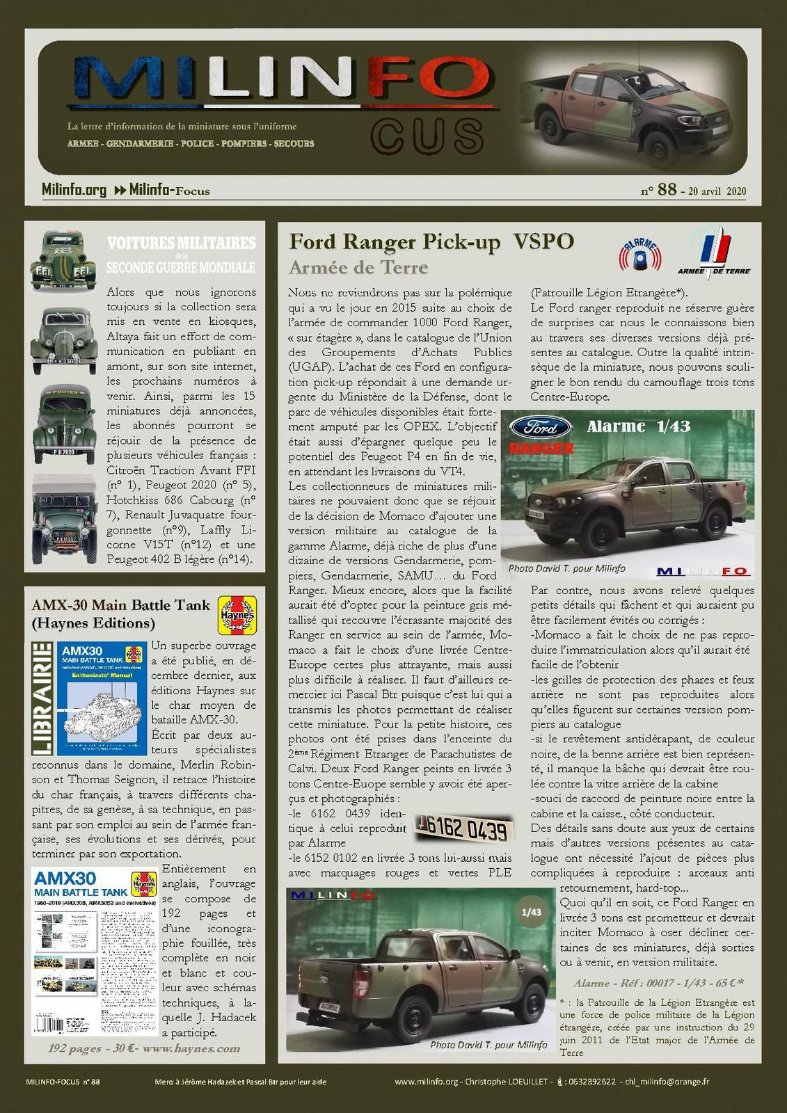Milinfo-Focus n° 88 : Ford Ranger 3 tons Centre-Europe