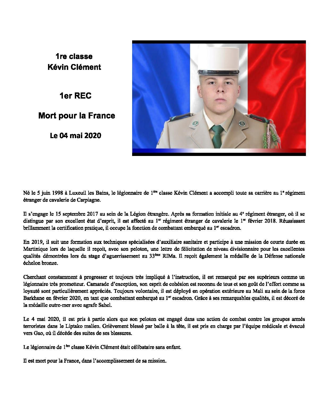 Barkhane : décès du légionnaire de 1ère classe Kévin Clément (1er REC)
