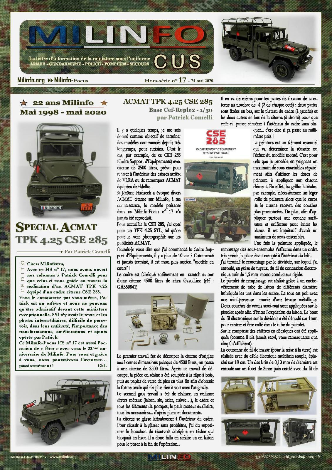 Milinfo-Focus HS n° 17  ACMAT  TPK 4.25 CSE 285  Sur base Cef-Replex - 1/50 - par Patrick Comelli