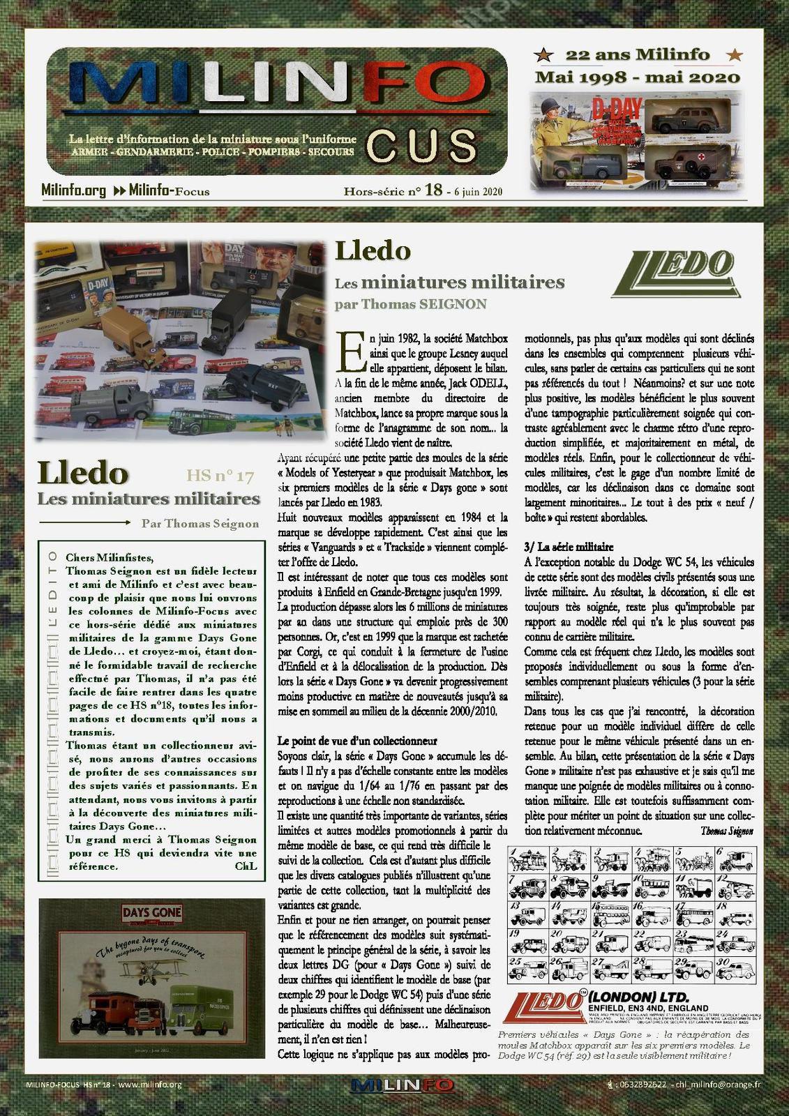 Milinfo-Focus hors-série n° 18 : les miniatures militaires Lledo (par Thomas Seignon)