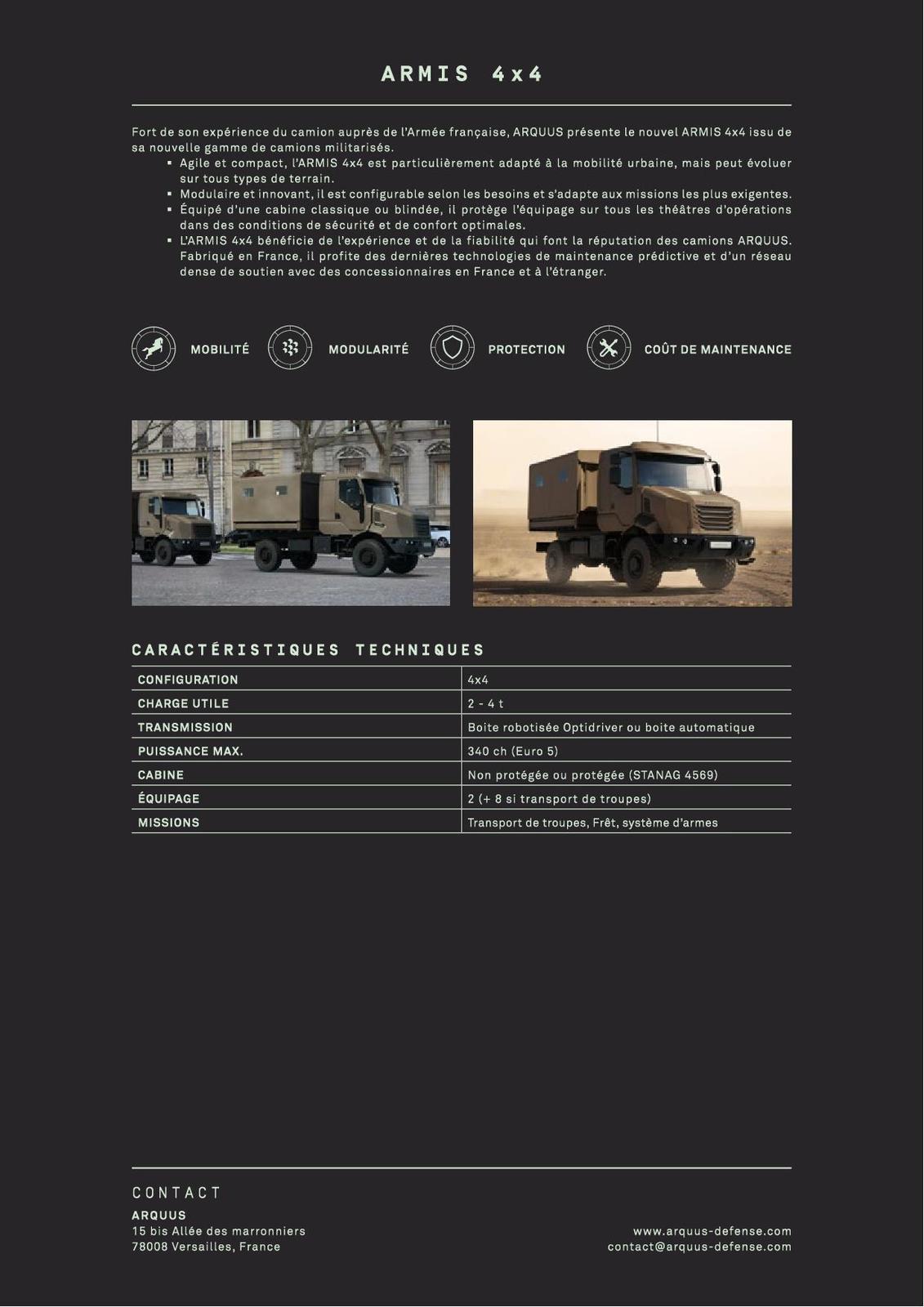 ARMIS : la nouvelle gamme de porteurs tactiques et logistiques d'ARQUUS
