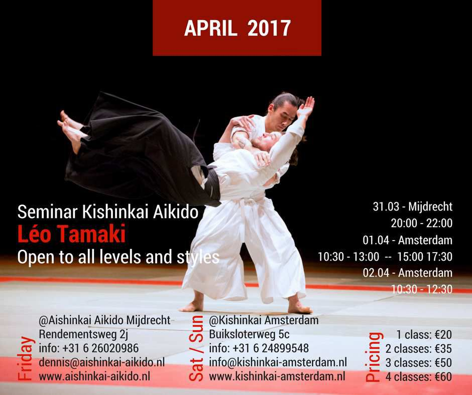 Léo Tamaki à Amsterdam, 31 mars au 2 avril