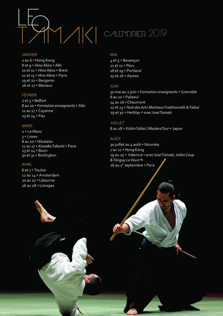 Calendrier Stage Aikido Kishinkai Leo Tamaki 2019