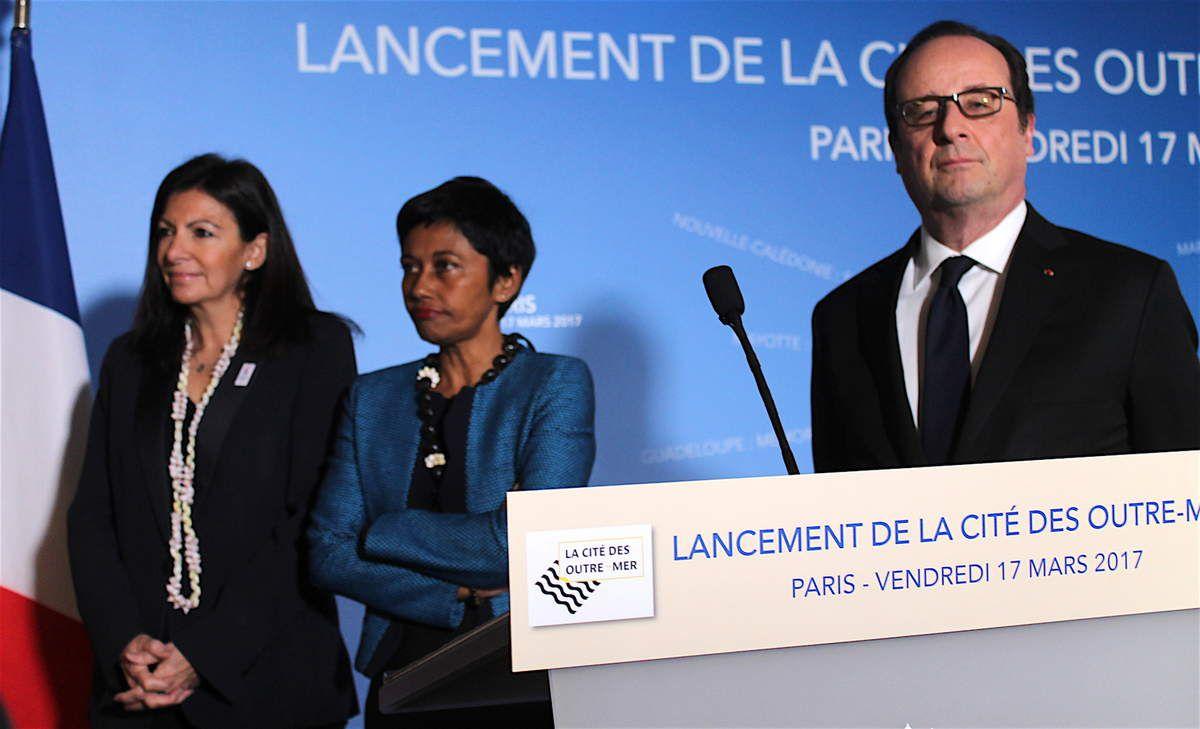 Anne Hidalgo, Ericka Bareigts et François Hollande au lancement de la Cité des Outre-mer à la Villette