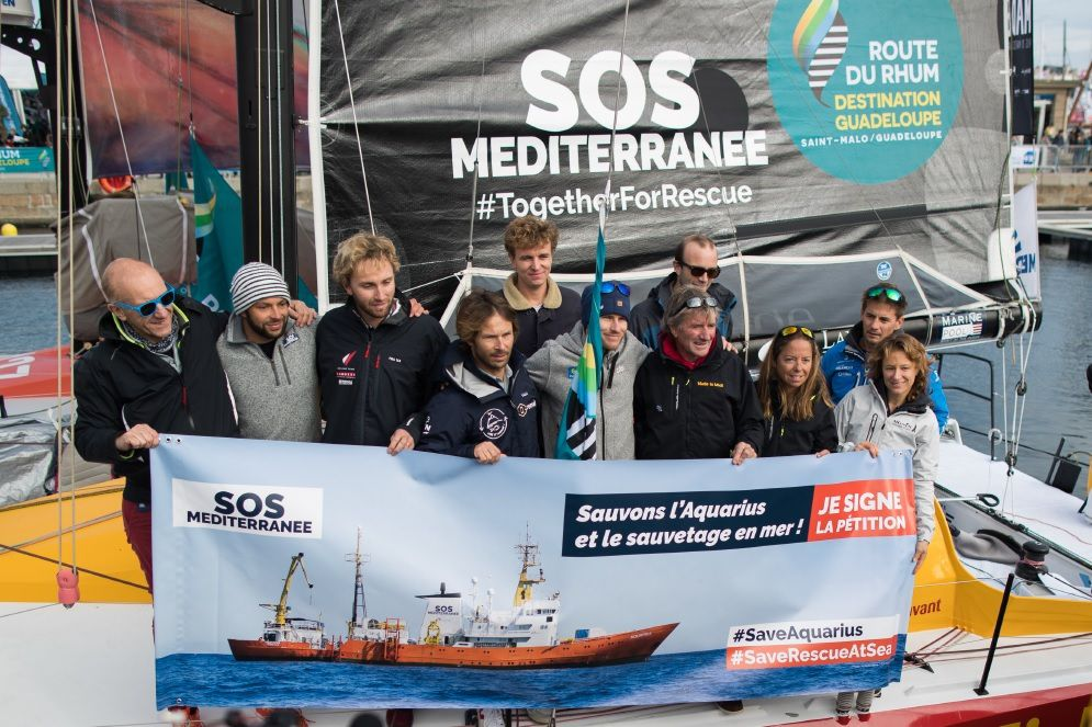 Sept skippers de la Route du Rhum-Destination Guadeloupe s'engagent pour l'Aquarius