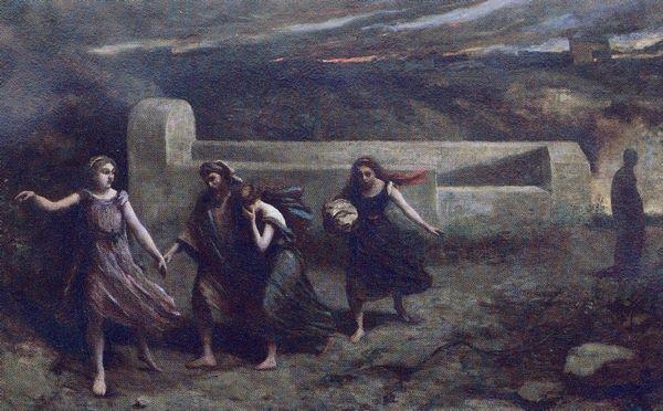 Camille Corot - Lot et ses filles échappent à la colère divine - 1843