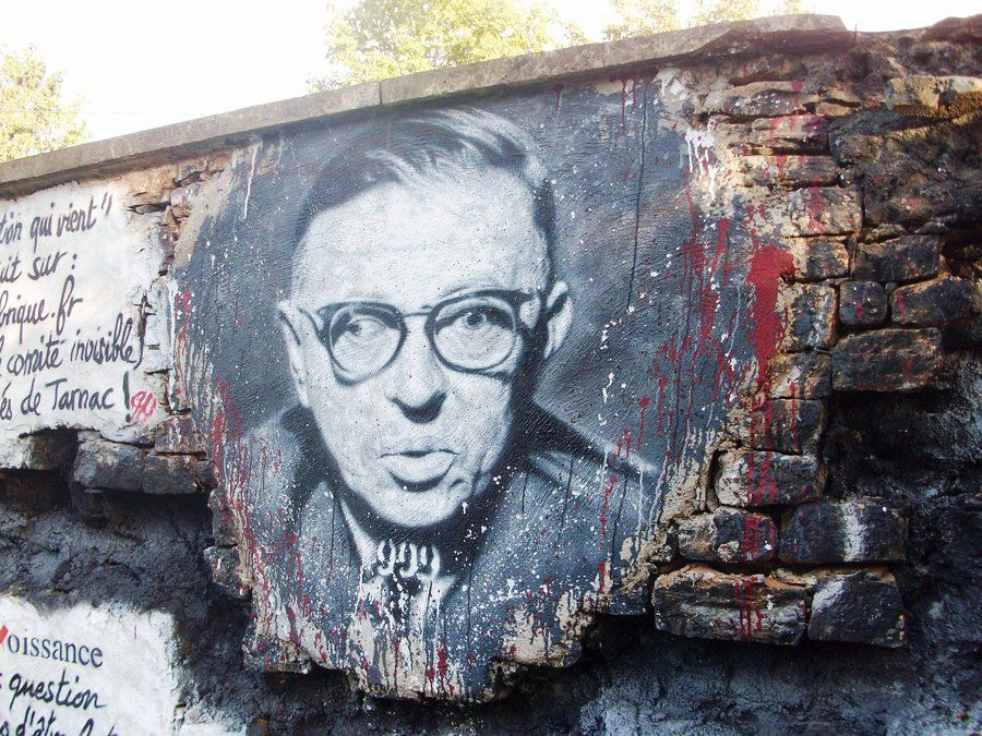 ;) Jean-Paul Sartre, painted on a wall of The Abode of Chaos, a Museum of Contemporary Art located in Saint-Romain-au-Mont-d'Or.