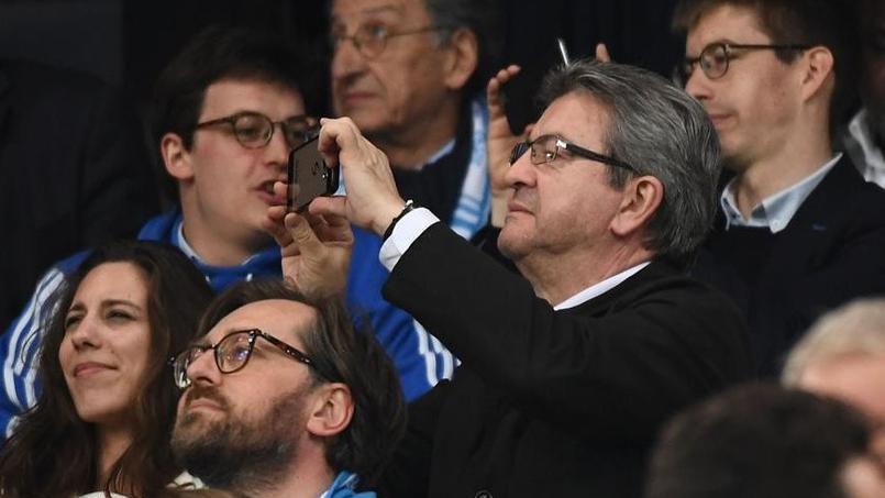 Jean-Luc Mélenchon au stade Vélodrome pour la demi-finale aller de Ligue Europa OM-Salzbourg. Crédit photo AFP