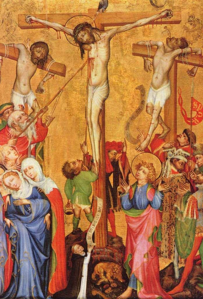 Peintre strasbourgeois HERMANN SCHADEBERG Crucifixion de Jésus, huile sur bois (conifère), 125,3 X 93,9, Colmar, musée d'Unterlinden ils lui donnèrent à boire du vin mêlé de fiel ; mais, l'ayant goûté, il ne voulut pas boire