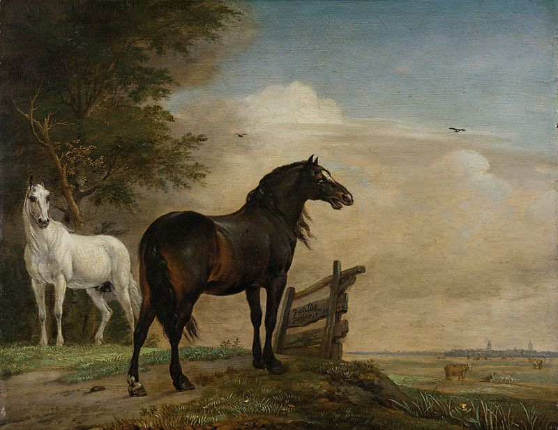 Two Horses in a Meadow near a Gate (1649)