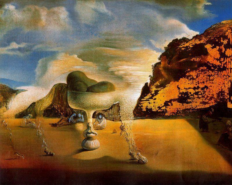 Salvador Dali -«Afghan invisible avec apparition sur la plage du visage de Garcia Lorca en forme de compotier aux trois figures»1938
