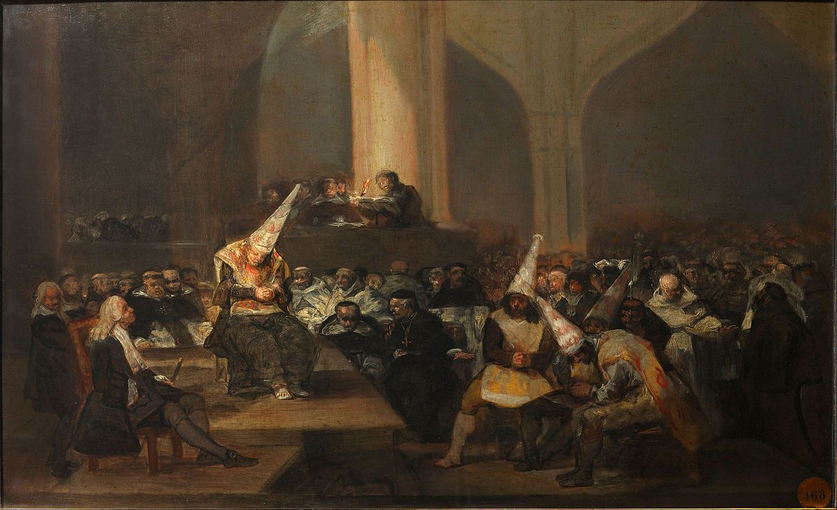 Francisco Goya y Lucientes, Tribunal de l'Inquisition ou autodafé de l'Inquisition, (vers 1812-1819) Museo de la Real Academia de Bellas Artes de San Fernando, Madrid.