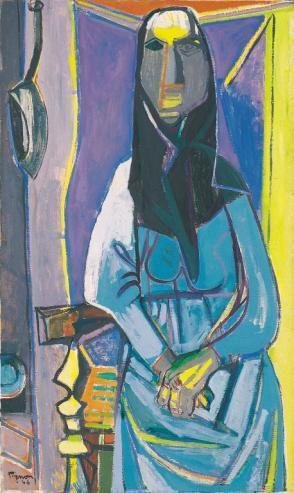 Edouard Pignon - Catalane sur fond bleu