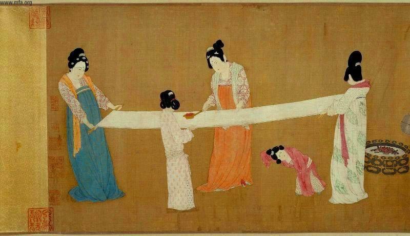 Zhang Xuan  - Apprêts de la soie par les dames de la cour - Détail