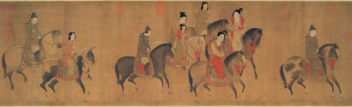 Zhang Xuan - Dame Guoguo partant faire une promenade à cheval