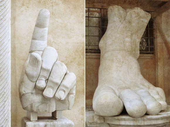 - Main et pied appartenant à la statue colossale de l'empereur Constantin / Musée du Capitole -