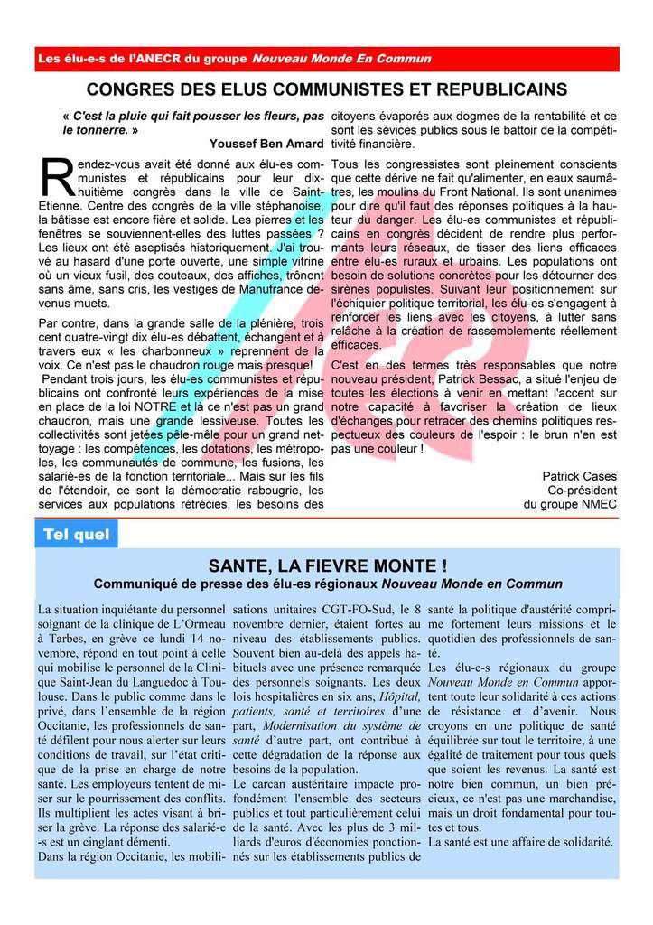 La lettre des élu(e)s communistes et républicains de la région occitanie.. Novembre 2016