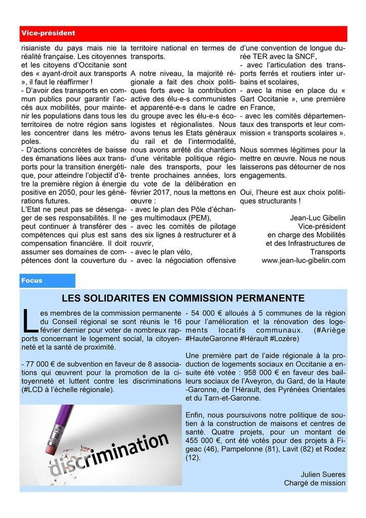 Lettre des élus communistes et républicains - Région Occitanie - Février 2018