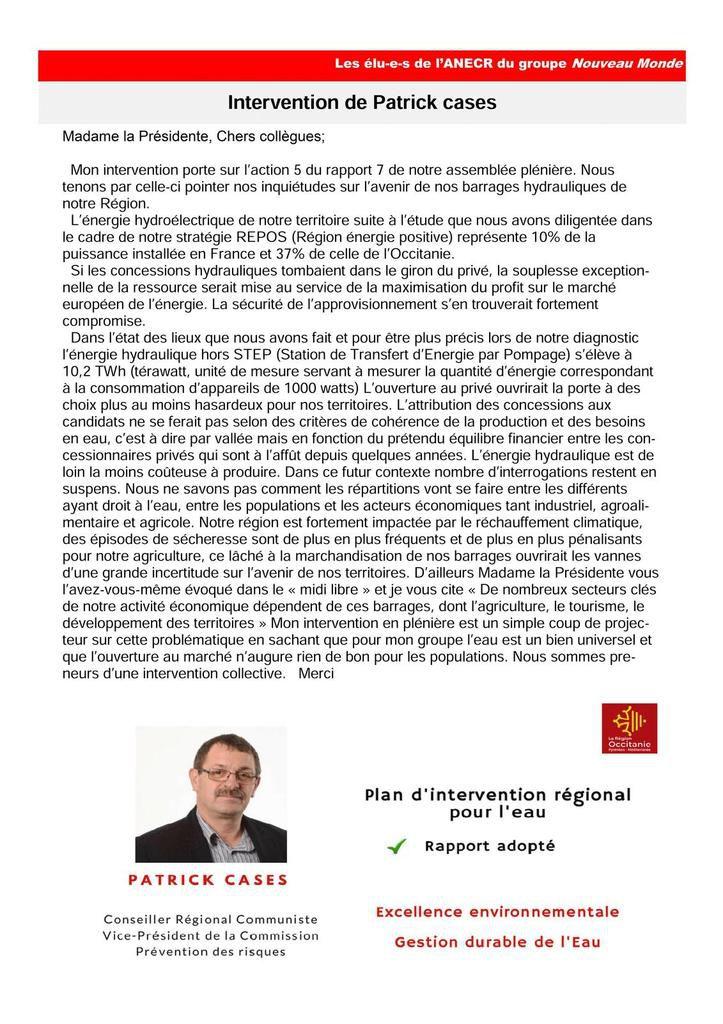 Lettre de juin 2018 des élus communistes et républicains à la région Occitanie.