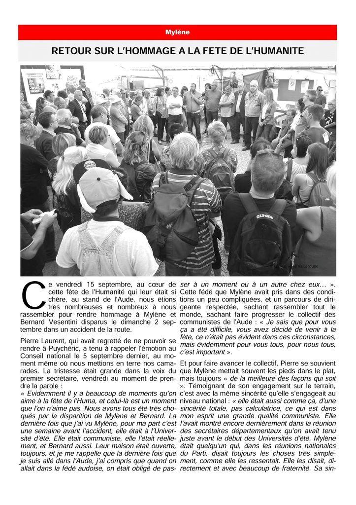 Hommage des élu.e.s communistes et apparenté.e.s du Conseil régional d'Occitanie à Mylène et Bernard Vesentini
