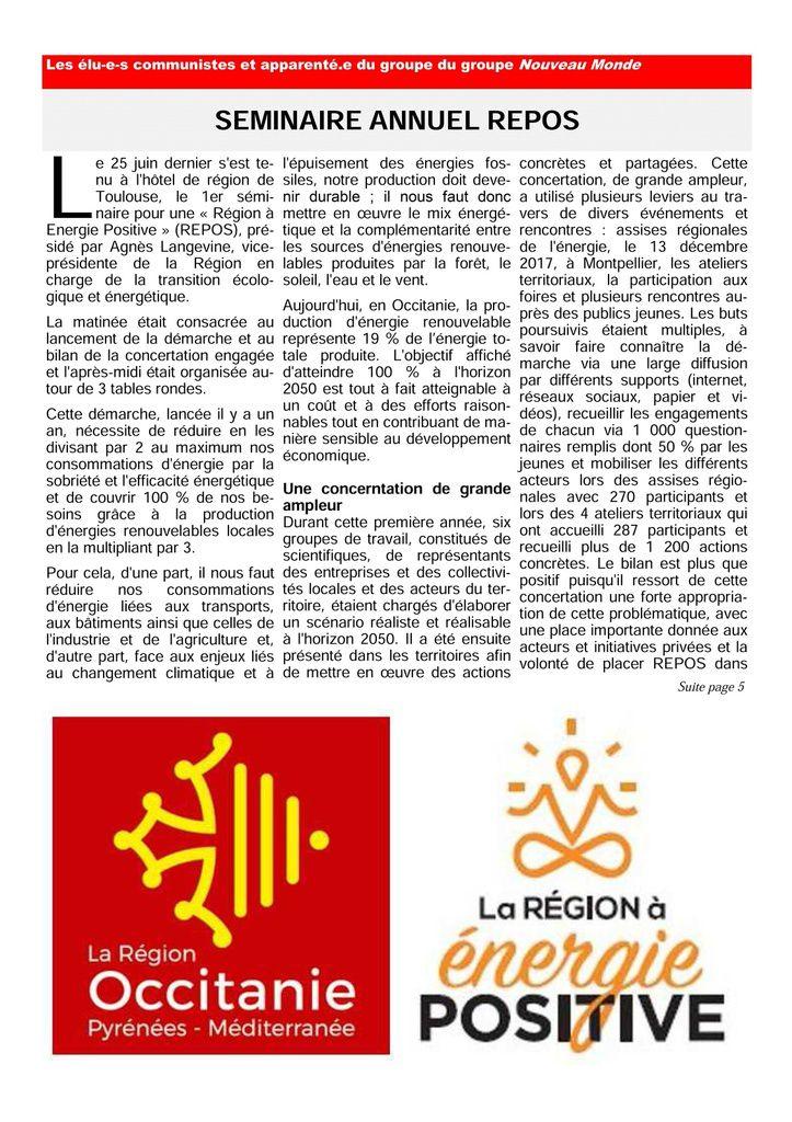 Lettre de septembre 2018 des élus communistes et républicains à la région Occitanie.