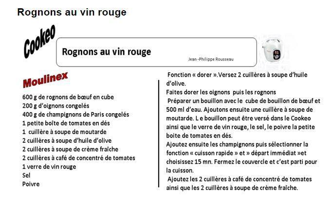 Fiche recette cookeo : rognons au vin rouge