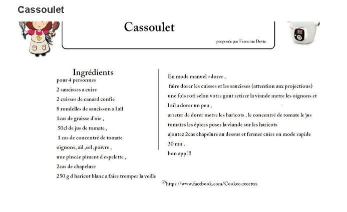 Cassoulet Cookeo : 4 fiches