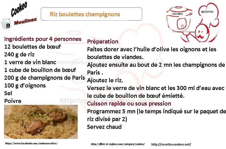 Fiche cookeo  riz boulettes champignons