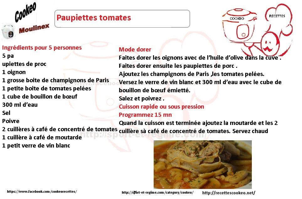 Fiche cookeo paupiettes à la tomate