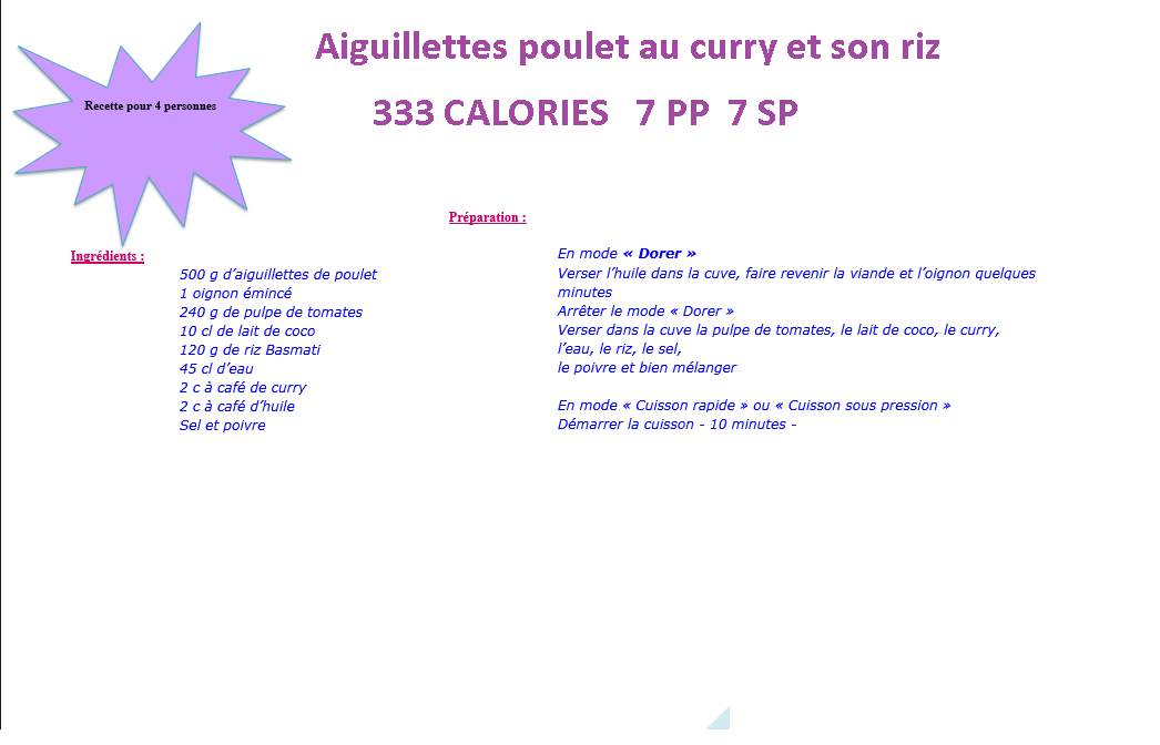 Aiguillettes poulet curry riz  weight watchers au cookeo