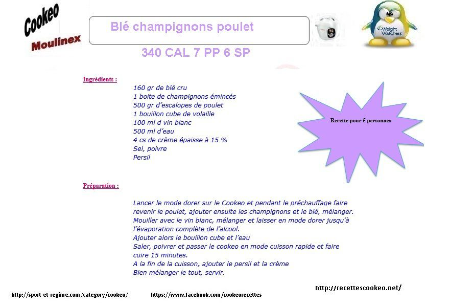 Blé champignons poulet weight watchers au cookeo