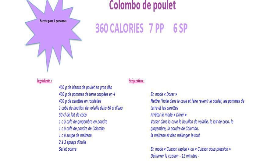 Colombo de poulet weight watchers cookeo