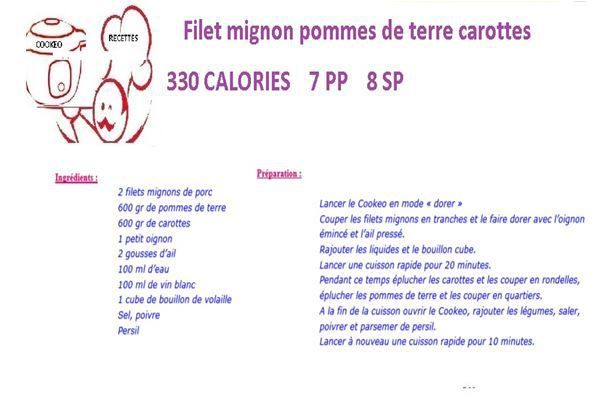 Filet mignon pommes de terre carottes weight watchers cookeo